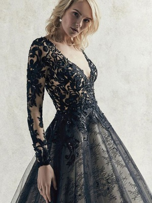 Black Wedding Dresses Lace Princess Silhouette Long Sleeves Natural Waist Lace Court Train Bridal Gown_5