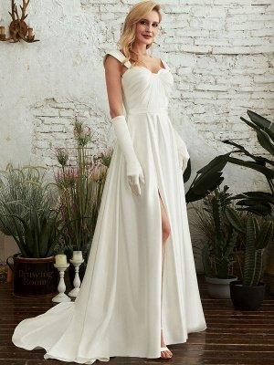 Robes de mariée A-ligne Tribunal Train Bretelles Spaghetti Sans Manches Plissée Col En Coeur Satin Tissu Ivoire Robes De Mariée_3
