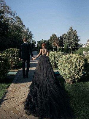 Schwarze Brautkleider Tüll A-Linie V-Ausschnitt Lange Ärmel Backless Natürliche Taille Spitze Royal Train Brautkleid_3