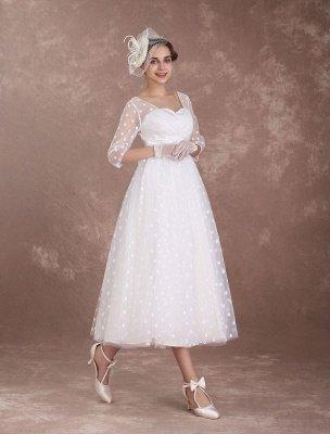 Vintage Wedding Dress Short 1950'S Bridal Dresses Ivory Long Sleeve Open Back Polka Dot Ribbon Sash Wedding Reception Dress Exclusive_6