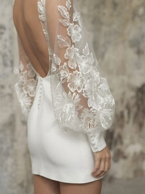 White Short Wedding Dresses V-Neck Long Sleeves Backless Sheath Cut-Outs Lace Bridal Dresses_6