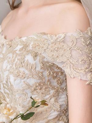 Brautkleider 2021 Ballkleid Schulterfrei Goldene Spitze Applizierte bodenlange Brautkleid_8