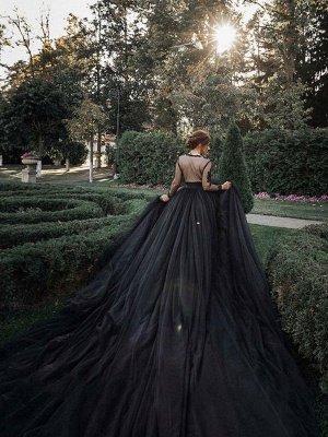 Schwarze Brautkleider Tüll A-Linie V-Ausschnitt Lange Ärmel Backless Natürliche Taille Spitze Royal Train Brautkleid_5