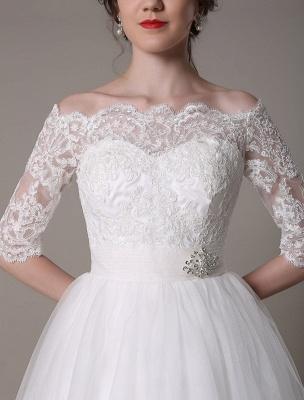 Robes de mariée en dentelle 2021 courtes sur l'épaule une ligne longueur au genou taille strass robe de mariée exclusive_8
