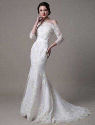 Wedding Dresses Vintage Lace Mermaid Of The Shoulder Court Train Bridal Dress Exclusive_10