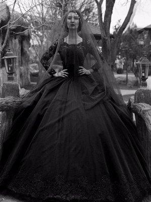 Gothic Wedding Dresses Princess Silhouette Long Sleeves Lace Taffeta Court Train Vintage Bridal Gown_2