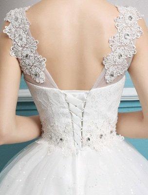 Princess Ball Gown Wedding Dresses Tulle Backless Ivory Beading Floor Length Bridal Dress_8