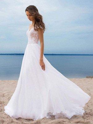 Vestidos de novia boho 2021 Gasa Cuello en V Mangas cortas Una línea Vestidos de novia con frente dividido para bodas en la playa_5