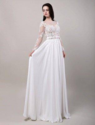 Boho Beach Sheer Lace Mousseline de soie Tulle Manches longues Deep V Back Backless Robe de mariée_5