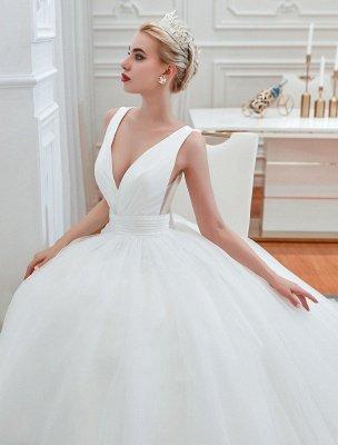 Prinzessin Brautkleid 2021 Ballkleid V-Ausschnitt Ärmellos Natürliche Taille Gericht Zug Brautkleider_4