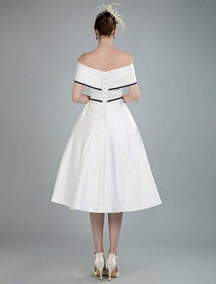 Vintage Wedding Dresses Satin Off The Shoulder A Line Tea Length Short Bridal Gowns Exclusive_3