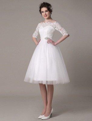 Robes de mariée en dentelle 2021 courtes sur l'épaule une ligne longueur au genou taille strass robe de mariée exclusive_5
