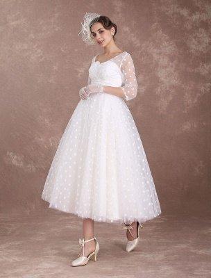 Vintage Wedding Dress Short 1950'S Bridal Dresses Ivory Long Sleeve Open Back Polka Dot Ribbon Sash Wedding Reception Dress Exclusive_5