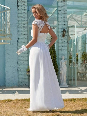 White Simple Wedding Dress Lace Jewel Neck Short Sleeves Backless Natural Waist Pleated Chiffon Lace A-Line Long Bridal Dresses_7