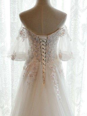 Beach Bridal Dress Ivory Off Shoulder Wedding Gowns Half Sleeve Flowers Beaded Sweetheart Neckline Maxi Wedding Dress For Summer_7