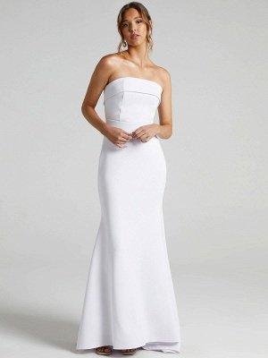 Weißes einfaches Brautkleid Meerjungfrau Pinsel Zug Reißverschluss trägerlose Polyester Brautkleider_1