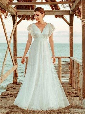Einfache Hochzeitskleid 2021 A Lne V-Ausschnitt Kurzarm Bodenlangen Tüll Strand Hochzeit Kleider Brautkleider_4