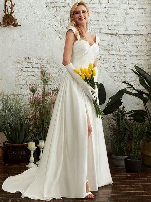 Robes de mariée A-ligne Tribunal Train Bretelles Spaghetti Sans Manches Plissée Col En Coeur Satin Tissu Ivoire Robes De Mariée_2