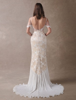 Boho Wedding Dresses Champagne Lace Beach Bridal Dress Mermaid V Neck Backless Beaded Summer Wedding Gowns Exclusive_6