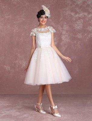Vestidos de novia vintage Vestido de novia corto con apliques de encaje Vestido de novia con lazo de ilusión Vestido de novia exclusivo_7