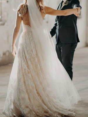 Wedding Dress Court Train A-Line Spaghetti Straps Sleeveless Lace V-Neck Backless Ivory Bridal Gowns_3