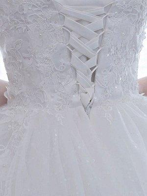 Elegant Wedding Dresses White Off The Shoulder Half Sleeves Soft Tulle Lace Up Floor Length Bride Dresses_4