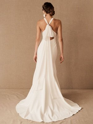 Wedding Dress Halter Sleeveless Bows With Train Bridal Gowns_2