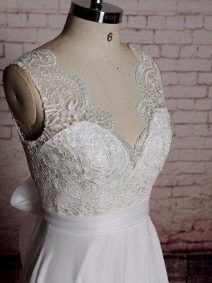 Einfaches Brautkleid A-Linie Spitze V-Ausschnitt Ärmellose Schleifen Brautkleider mit Kapelle Zug_3