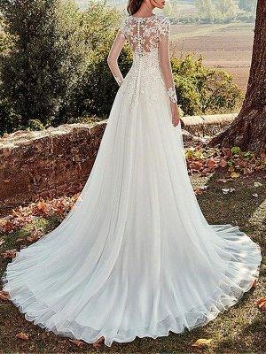 Wedding Dress 2021 V Nevk A Line Long Sleeve Floor Length Lace Applique Tulle Bridal Dresses With Train_2