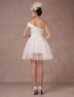 Short Wedding Dress Organza One-Shoulder A-Line Backless Satin Mini Summer Wedding Dresses 2021_6