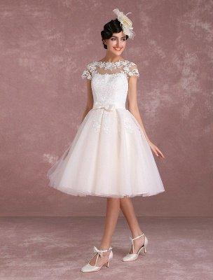 Robes de mariée vintage Robe de mariée courte en dentelle Applique Illusion Bow Sash Robe de mariée exclusive_5