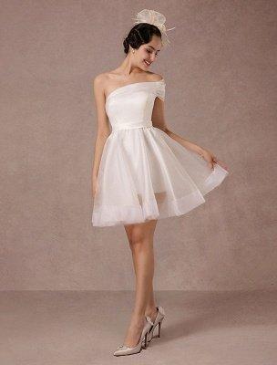 Short Wedding Dress Organza One-Shoulder A-Line Backless Satin Mini Summer Wedding Dresses 2021_1