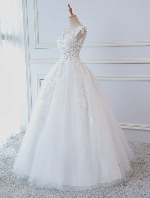 Princess Wedding Dresses Ball Gowns Lace V Neck Sleeveless Floor Length Bridal Gowns_2