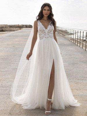 Weißes einfaches Brautkleid V-Ausschnitt ärmellos rückenfrei natürliche Taille Spitze Chiffon A-Linie lange Brautkleider