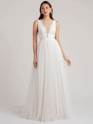 White Simple Wedding Dress A-Line V-Neck Sleeveless Floor-Length Pleated Tulle Bridal Gowns_1