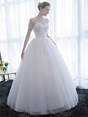 Elegant Wedding Dresses White Off The Shoulder Half Sleeves Soft Tulle Lace Up Floor Length Bride Dresses_2