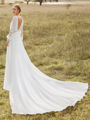 Elfenbein Einfaches Brautkleid mit Zug Chiffon Jewel Neck Long Sleeves Lace A Line Brautkleider_2