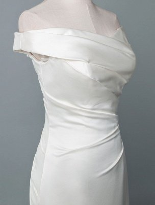 Vintage Wedding Dress Mermaid Off The Shoulder Sleeveless Pleated Satin Fabric With Train Traditional Dresses For Bride_4