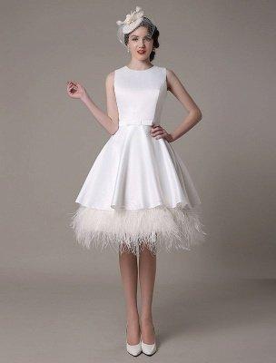 Vestido de novia de corte A hasta la rodilla Vestido de novia con lazo de satén escalonado con plumas Exclusivo_1