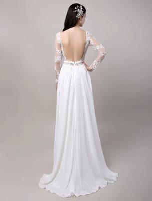 Boho Beach Sheer Lace Mousseline de soie Tulle Manches longues Deep V Back Backless Robe de mariée_7