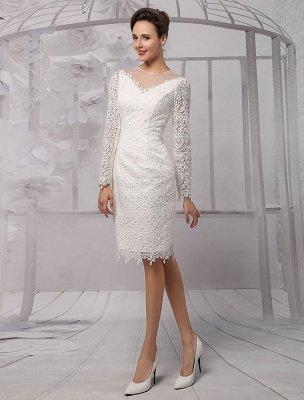 Einfache Brautkleider 2021 Kurze Langarm Illusion Ausschnitt Koyhole Knielangen Mantel Brautkleid Exklusiv_3