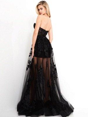 Robes de mariée gothiques noires A-ligne longueur au sol sans bretelles en dentelle sans manches robe de mariée_3