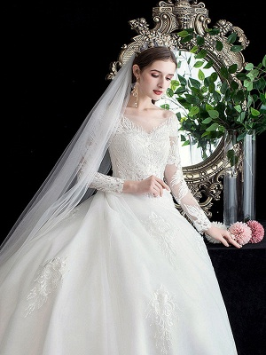 White Wedding Dress Ball Gown Cathedral Train Jewel Neck 3/4 Length Sleeves Natural Waist Applique Satin Fabric Bridal Dresses_5