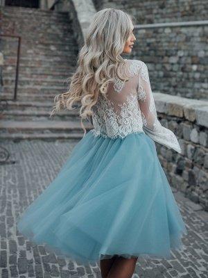 Vestido de novia azul simple Una línea de vestidos de novia de tul de encaje con escote diseñado_2