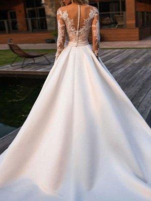 Wedding Dress Princess Silhouette Jewel Neck Long Sleeves Natural Waist Lace Satin Fabric Bridal Dresses_2