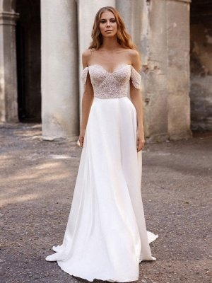 White Simple Wedding Dress Satin Fabric Strapless Sleeveless Cut Out A-Line Off The Shoulder Long Bridal Dresses_1