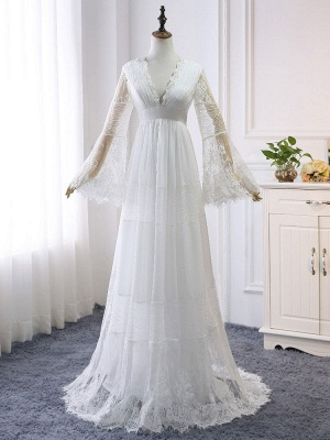 Boho Brautkleider 2021 A Line tiefer V-Ausschnitt Multilayer Lace Chiffon Beach Party Dress Brautkleider_3