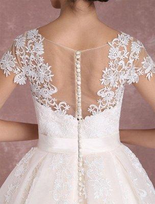 Vestidos de novia vintage Vestido de novia corto con apliques de encaje Vestido de novia con lazo de ilusión Vestido de novia exclusivo_10