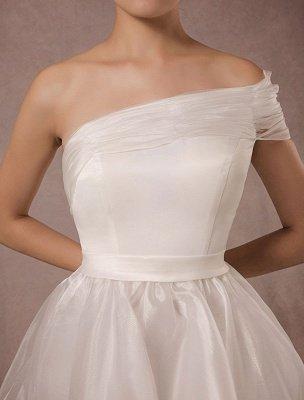 Short Wedding Dress Organza One-Shoulder A-Line Backless Satin Mini Summer Wedding Dresses 2021_7