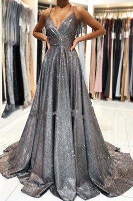 Spaghetti Straps Sparkly Sequins Aline Party Dress Sleeveless V-Neck Evening Dress